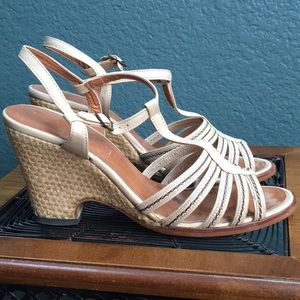 Shoes - Women's Strappy Wedges, open toe ankle straps